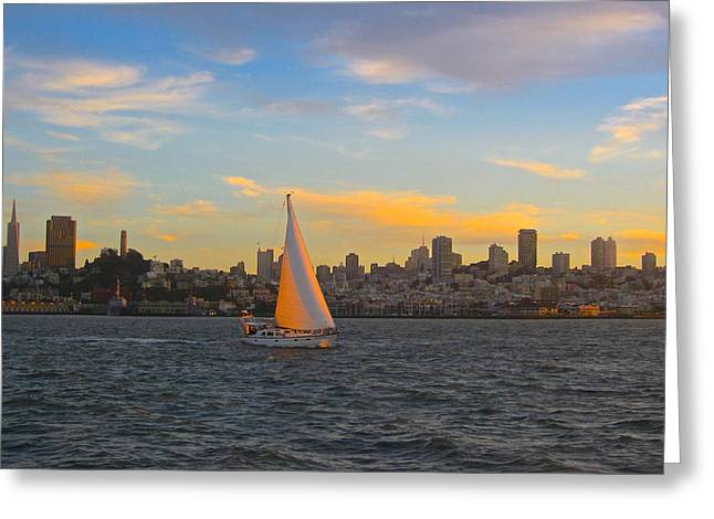 Sailboats In Water Greeting Cards - A Sunset Sail in San Francisco  Greeting Card by Venetia Featherstone-Witty