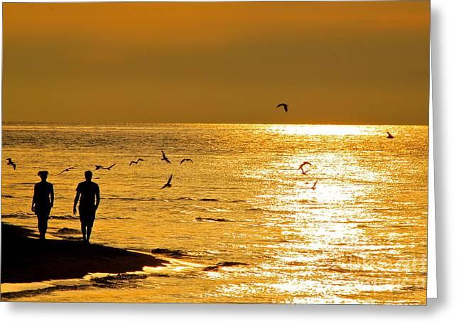 Jay Nodianos Greeting Cards - A Sunset Walk Greeting Card by Jay Nodianos