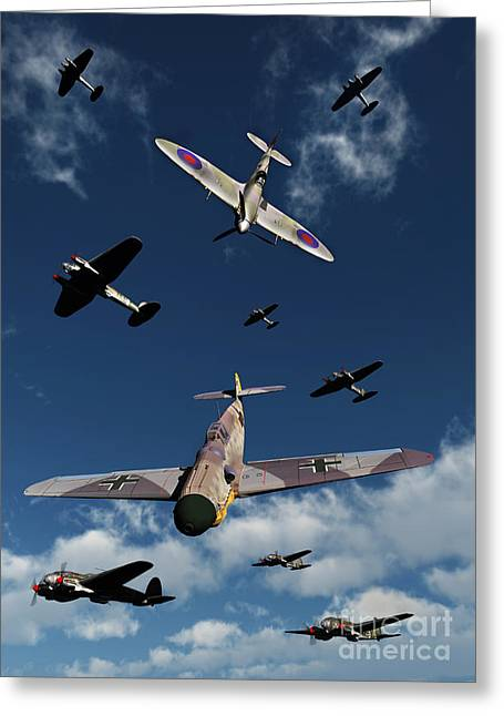 Military Airplanes Greeting Cards - A Supermarine Spitfire Attacking Greeting Card by Mark Stevenson