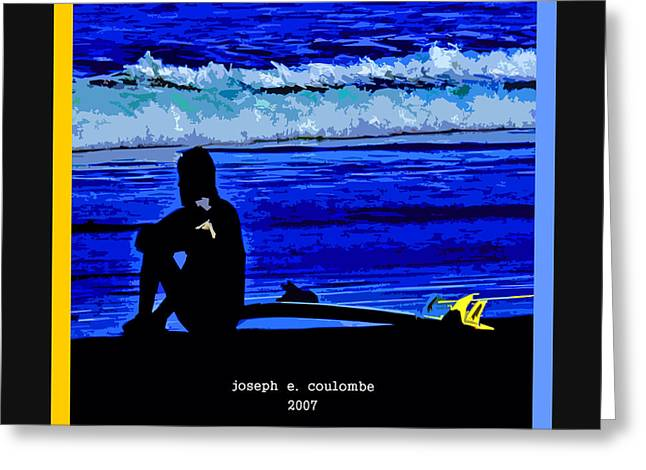 Half Moon Bay Digital Greeting Cards - A Surf Board   Greeting Card by Joseph Coulombe