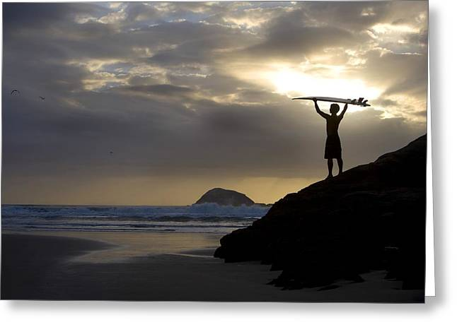Surf Lifestyle Greeting Cards - A Surfer On Muriwai Beach New Zealand Greeting Card by Deddeda