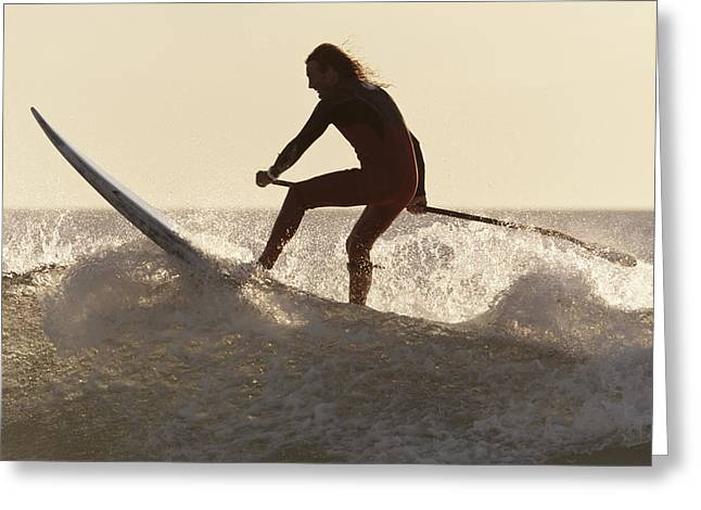 Wave Image Greeting Cards - A Surfer Paddling On A Surfboard Off Greeting Card by Ben Welsh