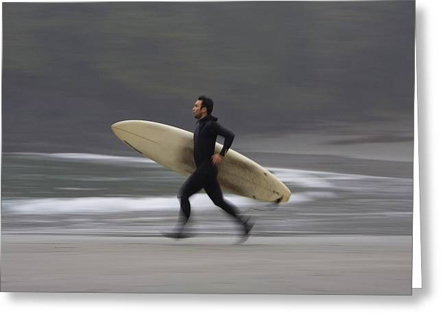 Surf Lifestyle Greeting Cards - A Surfer Running To The Water With His Greeting Card by Deddeda