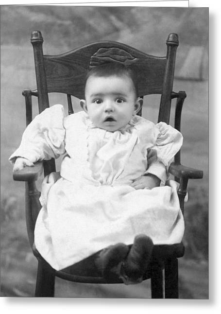 Wide-eyed Greeting Cards - A Surprised Baby Portrait Greeting Card by Underwood Archives