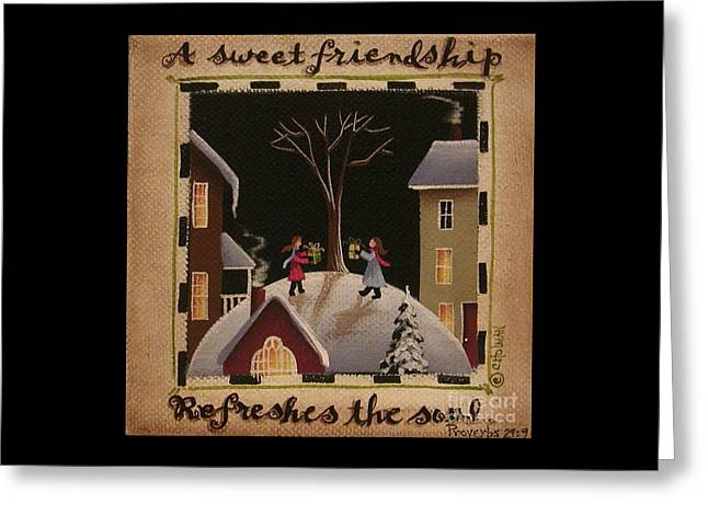 Catherine Greeting Cards - A Sweet Friendship  Winter Greeting Card by Catherine Holman