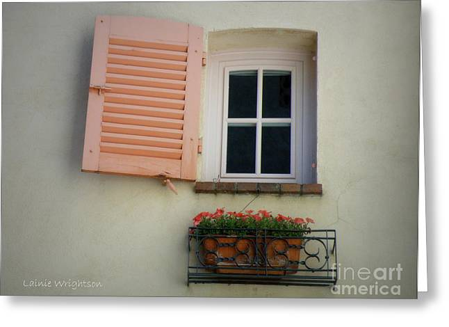 Lainie Wrightson Greeting Cards - A Sweet Shuttered Window Greeting Card by Lainie Wrightson