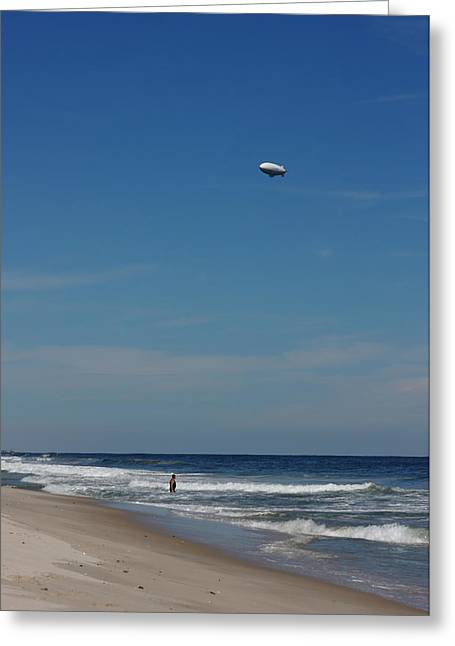 Weird New Jersey Greeting Cards - A Swimmer and The Dirigible Greeting Card by Andrei Filippov