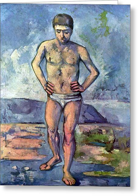 John Peter Greeting Cards - A Swimmer by Cezanne Greeting Card by John Peter
