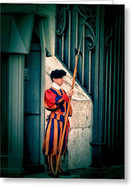 Papal Greeting Cards - A Swiss Guard Greeting Card by Tom Prendergast