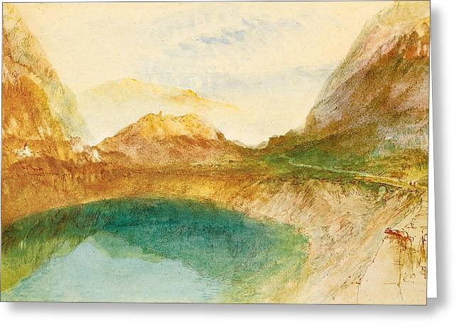 Swiss Paintings Greeting Cards - A Swiss Lake Lungernzee Greeting Card by Joseph Mallord William Turner