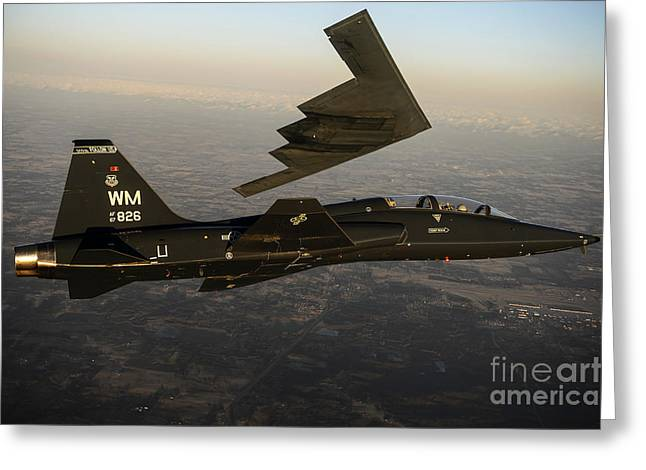 Two Spirit Greeting Cards - A T-38 Talon Flies In Formation Greeting Card by Stocktrek Images
