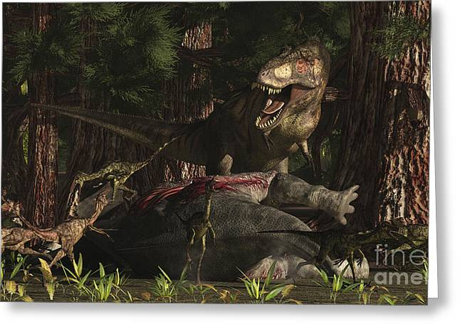 Paleoart Greeting Cards - A T-rex Returns To His Kill And Finds Greeting Card by Arthur Dorety