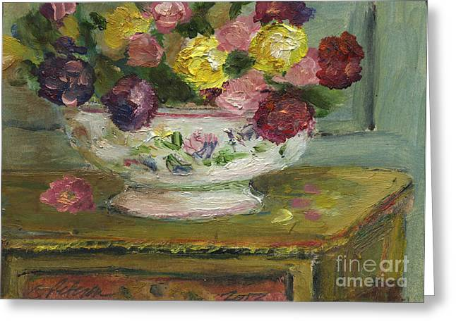 Ventura California Greeting Cards - A table set with fresh cut flowers in a white China bowl. 2013 Greeting Card by Cathy Peterson
