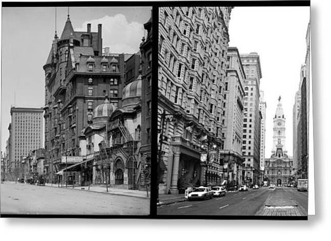 Phila Greeting Cards - A Tail of Two Cities - South Broad Then and Now Greeting Card by Bill Cannon