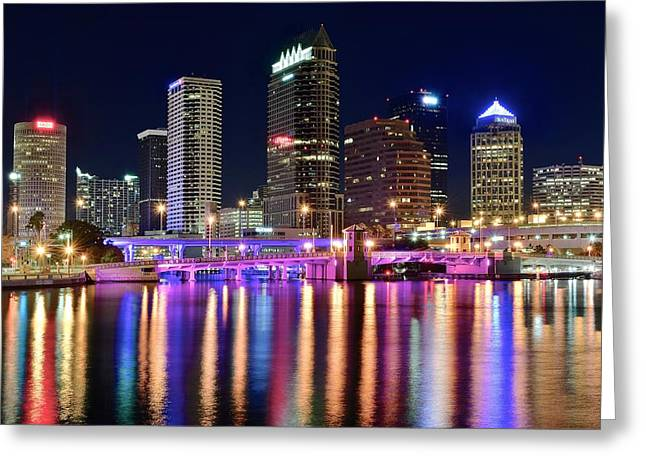 Tampa Buildings Greeting Cards - A Tampa Bay Night Greeting Card by Frozen in Time Fine Art Photography