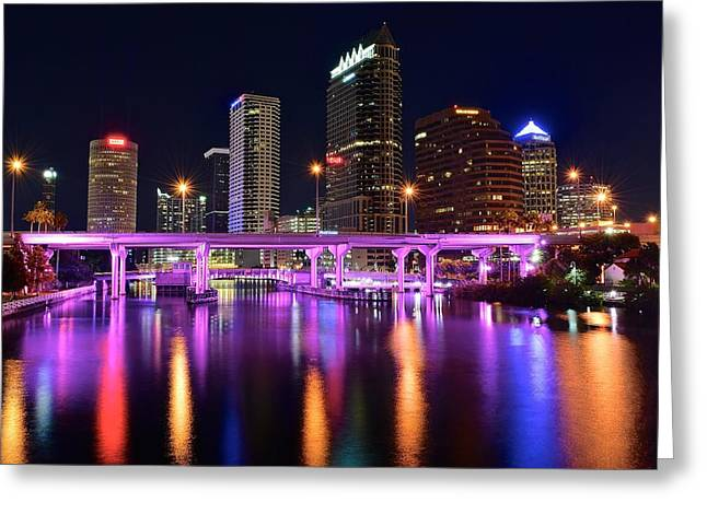 Best Sellers -  - Light And Dark Greeting Cards - A Tampa Night Greeting Card by Frozen in Time Fine Art Photography