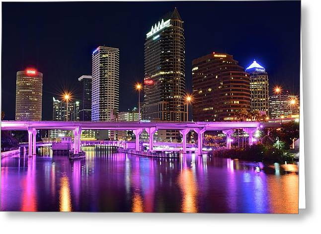 Buccaneer Greeting Cards - A Tampa Night Panorama Greeting Card by Frozen in Time Fine Art Photography