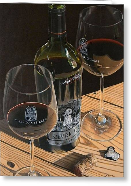 Napa Valley Canvases Greeting Cards - A Taste of Cabernet Greeting Card by Brien Cole