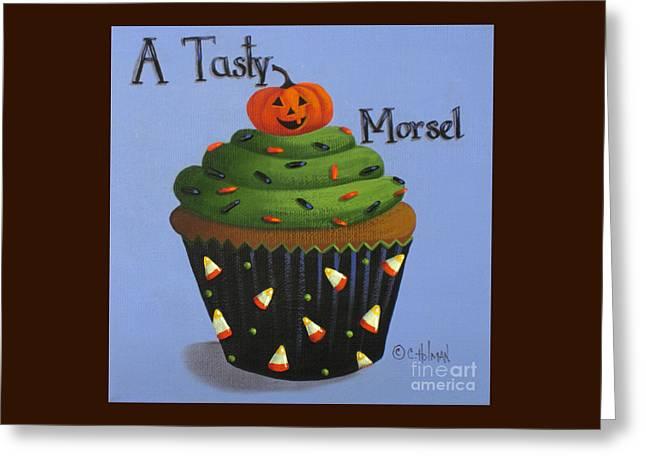 Halloween Folk Art Greeting Cards - A Tasty Morsel Greeting Card by Catherine Holman