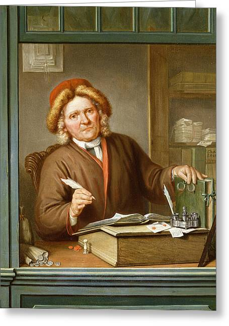 Ledger Greeting Cards - A Tax Collector, 1745 Greeting Card by Tibout Regters