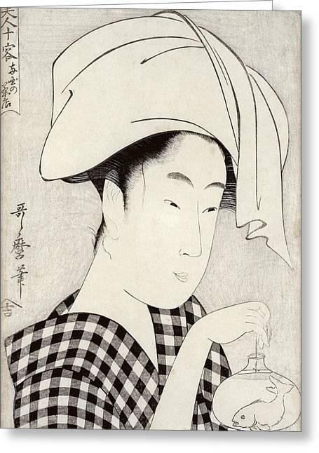 A Tea-house In Ryogoku, From The Series Bijin Juyo Ten Female Figures Greeting Card by Kitagawa Utamaro