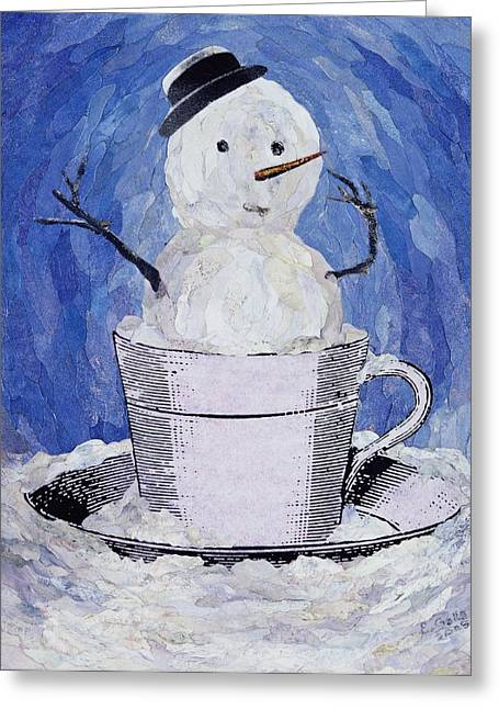 Snowman Christmas Card Greeting Cards - A Telling Sign Greeting Card by Ellen Golla