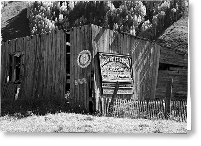 Wooden Building Greeting Cards - A Telluride Welcome Greeting Card by David Lee Thompson