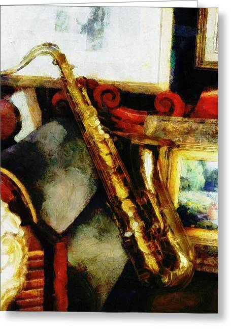 Chaise Greeting Cards - A Tenner Saxophone Greeting Card by Steve Taylor
