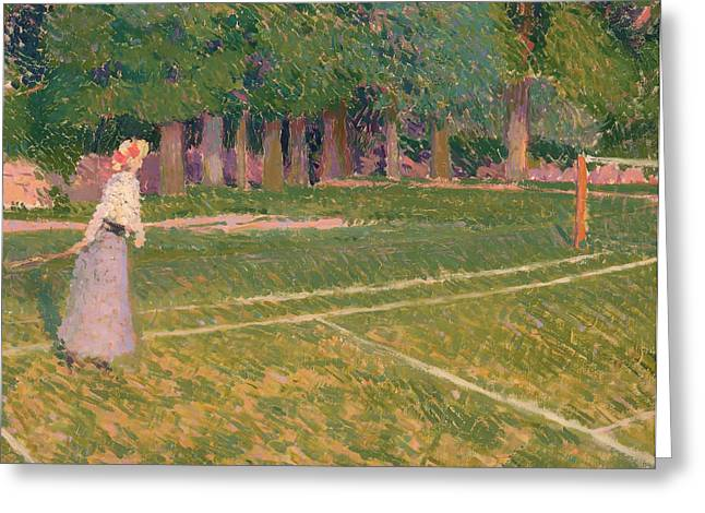 Grass Courts Greeting Cards - A Tennis Day Greeting Card by Spencer Gore