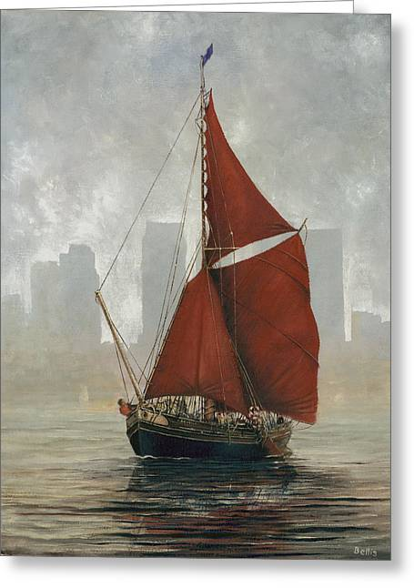 Eric Bellis Greeting Cards - A Thames Barge by Canary Wharf Greeting Card by Eric Bellis