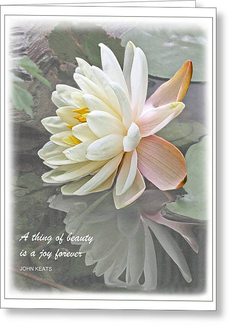 Motivational Poster Greeting Cards - A Thing of Beauty is a Joy Forever Greeting Card by Gill Billington