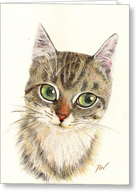 Cat Art Greeting Cards - A Thinking Cat Greeting Card by Jingfen Hwu