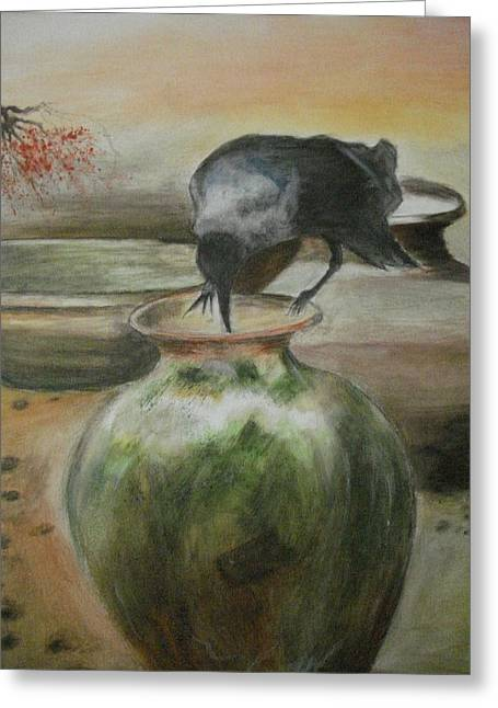 A Summer Evening Greeting Cards - A Thirsty Crow Greeting Card by Prasenjit Dhar