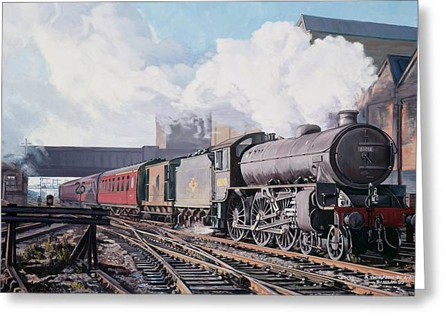 Trains Paintings Greeting Cards - A Thompson B1 Class Moving Empty Stock on a Cold February Morning Greeting Card by David Nolan