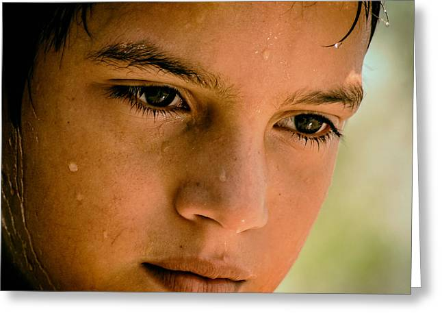 Sweating Greeting Cards - A Thoughtful Young Man Greeting Card by Mountain Dreams