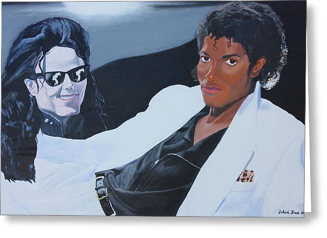 Mj Paintings Greeting Cards - A Thriller And King of Pop Greeting Card by Ludovic Bowe