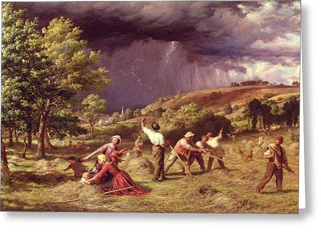 Pitchfork Greeting Cards - A Thunder Shower, 1859 Greeting Card by James Thomas Linnell