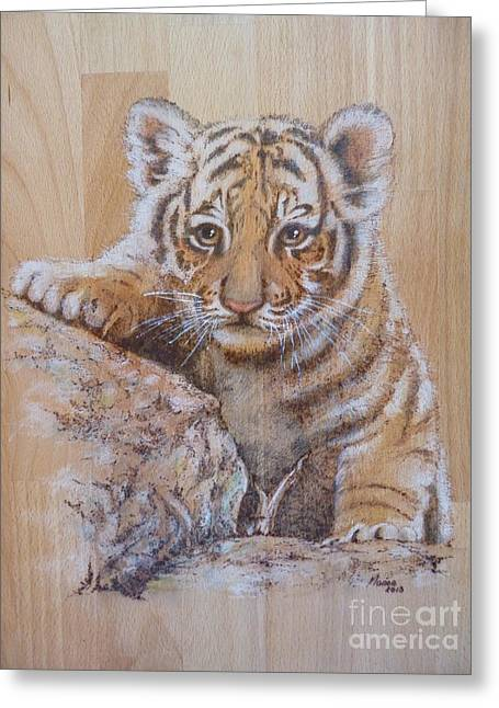 Striped Pyrography Greeting Cards - A tiger cub  Greeting Card by Manon  Massari