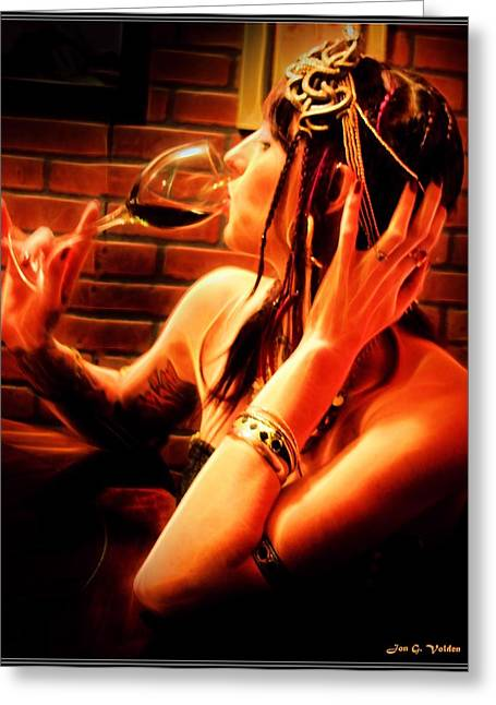 Wine Magazine Art Greeting Cards - A Time For Wine Greeting Card by Jon Volden