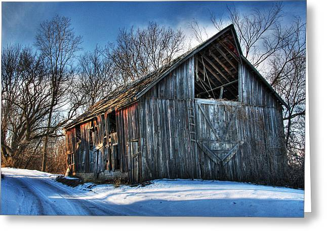 Tricks Greeting Cards - A Time Gone By....  Country Barn Greeting Card by Wayne Moran