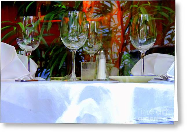 Table Wine Greeting Cards - A Time To Dine In New Orleans Greeting Card by Michael Hoard