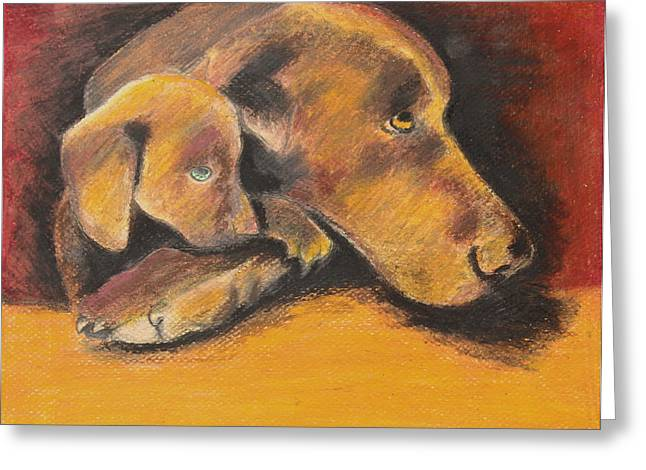 Doggy Pastels Greeting Cards - A Time to Rest Greeting Card by Jeanne Fischer