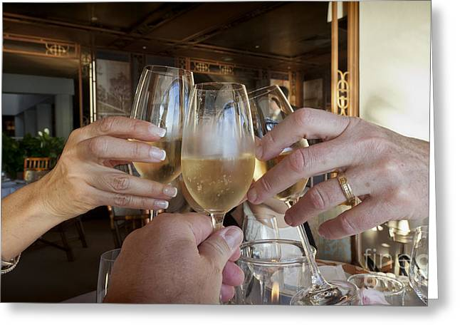 A Toast To Friends Greeting Card by Sheldon Kralstein
