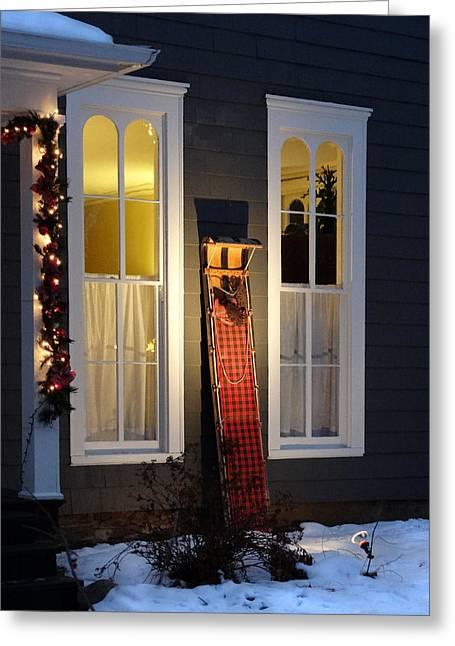 Tobogganing Greeting Cards - A Toboggan Christmas Greeting Card by David T Wilkinson
