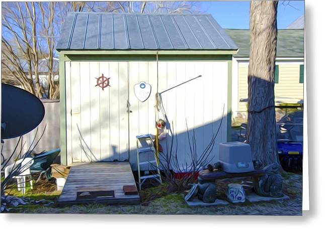 Shed Paintings Greeting Cards - A tool shed in the back yard Greeting Card by Lanjee Chee