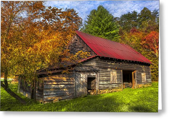Tennessee Farm Greeting Cards - A Touch of Red in Autumn Greeting Card by Debra and Dave Vanderlaan