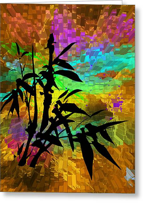 Purple Abstract Greeting Cards - A Touch of the Orient Greeting Card by Judy  Johnson
