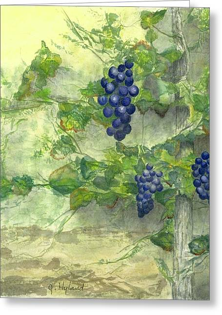 Grapevine Leaf Mixed Media Greeting Cards - A Touch of Tuscany Greeting Card by Jeanne Hyland-Curtin