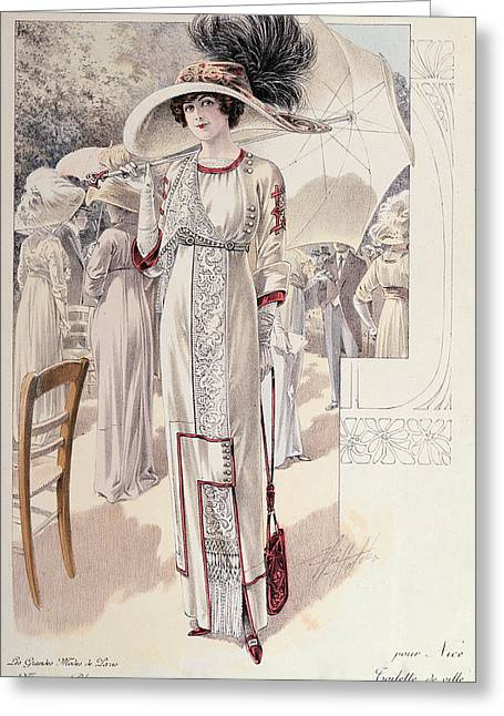 Chic Drawings Greeting Cards - A Town Dress Greeting Card by French School