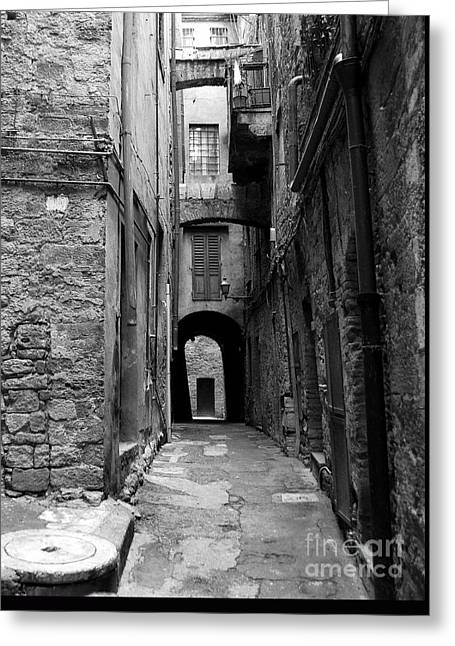 A Town In Tuscany 3 Bw Greeting Card by Mel Steinhauer